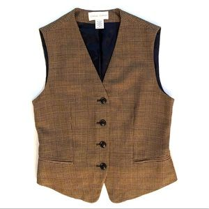 Casual Corner brown & tan plaid vest with buttons